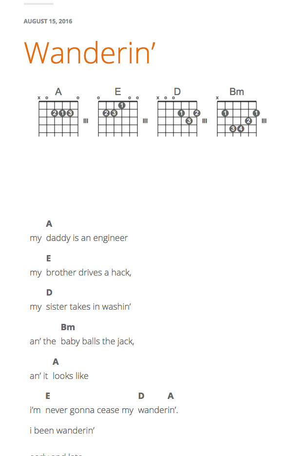 Adding Song Lists Chords And Notation To Lyrics On Wordpress
